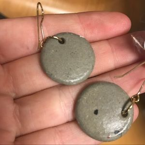 Vintage Jewelry - African Tribal Clay Medallion Painted Earrings